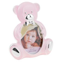 Ramka na zdjęcie różowy miś pamiątka chrzest roczek dedykacja