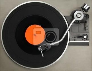 Plakat gramofon z płyty winylowej