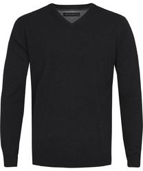 Czarny sweter  pulower v-neck z bawełny  xl