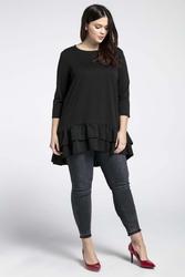 Czarna kobieca tunika z falbankami plus size