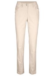 Spodnie ze stretchem slim fit bonprix beżowo-szary
