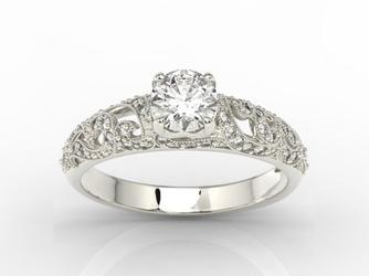 Pierścionek zaręczynowy z białego złota z białym topazem swarovski i diamentami bp-50b