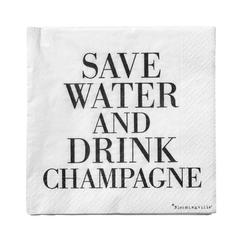 Serwetki Save Water Drink Champagne 20 szt. czarny napis