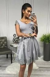 Szara rozkloszowana sukienka koktajlowa - aurelia