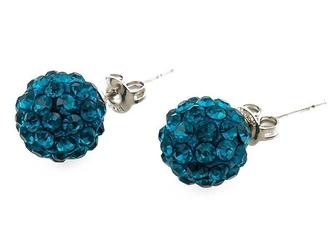 Kolczyki shamballa blue zircon 10 mm - blue zircon