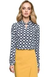 Elegancka bluzka z wzorem z ozdobnym dekoltem - model 1