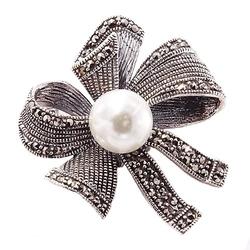 Filippa srebrna broszka z markazytami i perłą