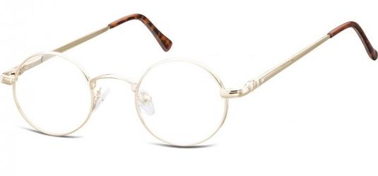 Okulary dziecięce zerówki okrągłe lenonki m5e złote