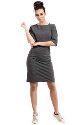 Grafitowa sukienka melanżowa prosta z kieszenią