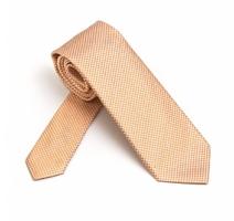 Elegancki krawat jedwabny van thorn w pomarańczową pepitkę