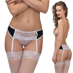 Garter belt, panties, lace, stretch satin, white with black inserts, blackwhite : rozmiar - sm