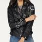 Czarna kurtka z skóry ekologicznej z kwiatowym haftem khujo walentina