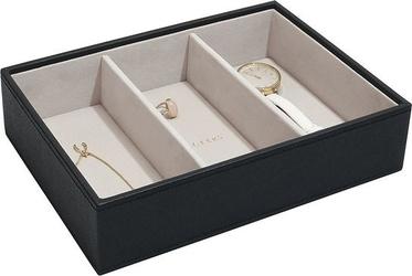 Szkatułka na biżuterię stackers 3 komorowa classic czarna velvet