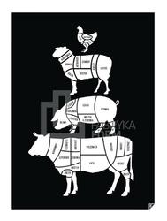Plakat U Rzeźnika czarny 30 x 40 cm