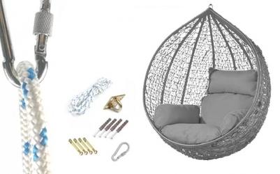 Fotel wiszący bujany kosz huśtawka kokon gniazdo szary mocowanie