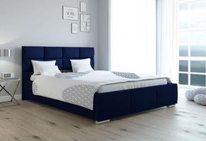 Łóżko tapicerowane do sypialni bubble z pojemnikiem na pościel