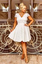 Krótka ślubna sukienka rozkloszowana z halką - diana 2