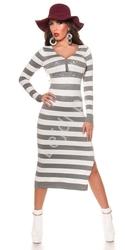 Dzianinowa sukienka w szaro białe paski długość 34, zdobiona kryształkami 8719-2