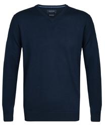 Elegancki granatowy sweter prufuomo z wełny merynosów xl