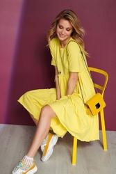 Bawełniana sukienka z falbankami - żółta