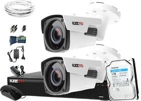 5mpx zestaw do monitoringu keeyo h265+ ir 60m 2x kamera