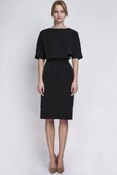 Czarna sukienka wizytowa z wąskim prostym dołem
