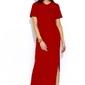Czerwona dzianinowa prosta sukienka maxi z rozcięciem