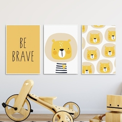 Zestaw plakatów dziecięcych - lion art , wymiary - 20cm x 30cm 3 sztuki, kolor ramki - czarny