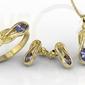 Zestaw: pierścionek, kolczyki i wisiorek z żółtego złota z tanzanitami bp-69z-zestaw - żółte  tanzanit