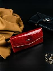 Portfel damski skórzany lakierowany czerwony lorenti - czerwony