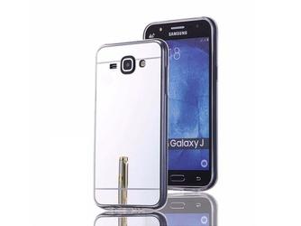 Etui lustrzane mirror gel samsung galaxy j1 2016 srebrne + szkło - srebrny