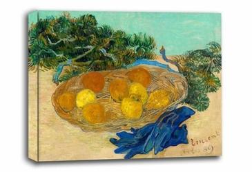Still life of oranges and lemons with blue gloves, vincent van gogh - obraz na płótnie