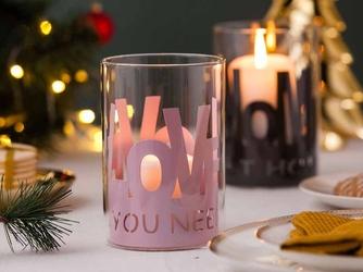 Świecznik szklany  lampion na świeczki tea light  podgrzewacze w metalowej osłonce altom design love różowy 10x15 cm
