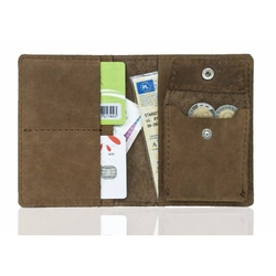 Super cienki portfel na karty i monety slim wallet brodrene sw01+ jasny brąz