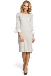 Bawełniana wygodna sukienka na co dzień z wyjątkowymi rękawami popielata m327