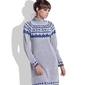 Szara sukienka z golfem w skandynawskie wzory