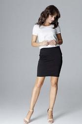 Czarna ołówkowa mini spódnica z ozdobnymi przeszyciami