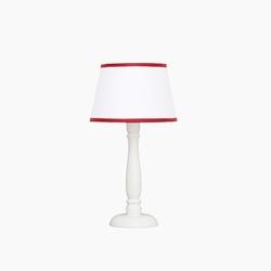 Lampka nocna roomee decor - biała z czerwoną lamówką