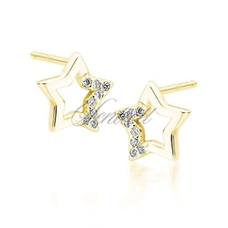 Srebrne pozłacane kolczyki pr. 925 gwiazdki z cyrkoniami - żółte złoto