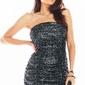 Cekinowa sukienka gorsetowa z drapowaniem - grafitowa