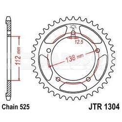 Zębatka tylna stalowa jt 1304-45, 45z, rozmiar 525 2302262 honda xl 1000