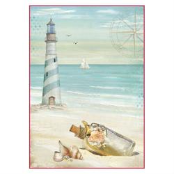 Papier ryżowy Stamperia A4 latarnia morska
