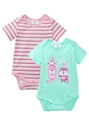 Body niemowlęce z krótkim rękawem 2 szt., bawełna organiczna bonprix jasny miętowy + jasnoróżowy + jeżynowy