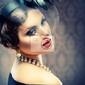 Obraz retro portret beauty. vintage styled. piękna młoda kobieta