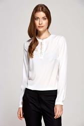 Ecru wizytowa prosta bluzka z łezką na dekolcie