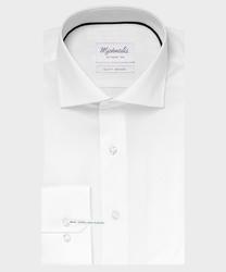 Extra długa biała koszula michaelis z kołnierzem włoskim 41