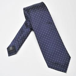 Granatowy krawat jedwabny w białe kropki
