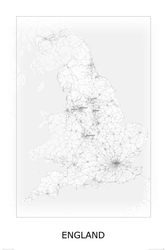 England, black and white - mapa