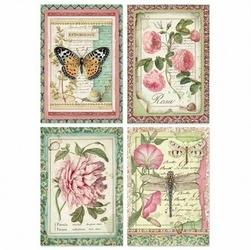 Papier ryżowy Stamperia A4 kwiaty tagi