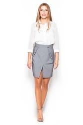 Szara mini spódnica ołówkowa z kieszeniami